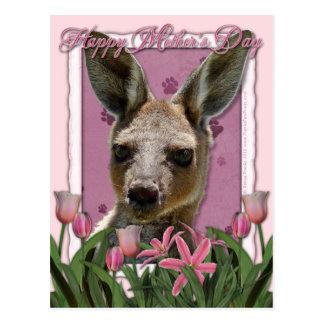 Dia das mães - tulipas cor-de-rosa - canguru cartão postal