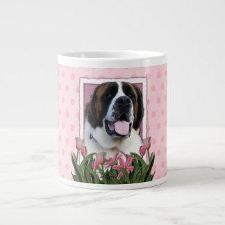 Dia das mães - tulipas cor-de-rosa - St Bernard -  Canecas De Café Muito Grande