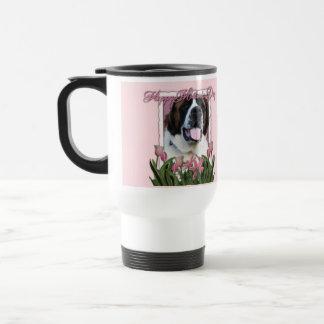 Dia das mães - tulipas cor-de-rosa - St Bernard - Caneca Térmica
