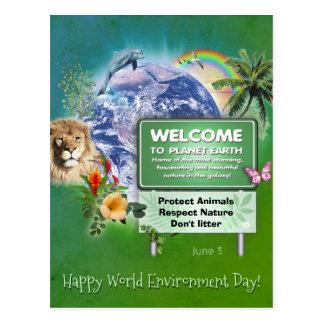 Dia de ambiente de mundo feliz cartão postal