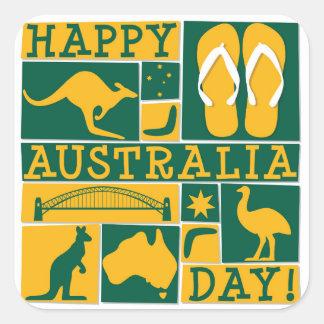 Dia de Austrália Adesivo Quadrado