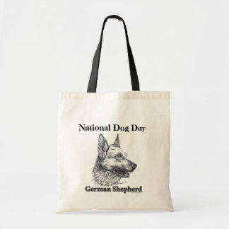 Dia de cão nacional do german shepherd bolsa tote