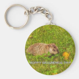 Dia de Groundhog Hoppy! chaveiro
