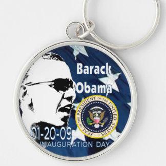 Dia de inauguração de Barak Obama Chaveiro Redondo Na Cor Prata