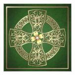 Dia de São Patrício celta do trevo do ouro que Convite Quadrado 13.35 X 13.35cm