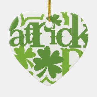 Dia de São Patrício, design irlandês de Patrick de Ornamento De Cerâmica Coração