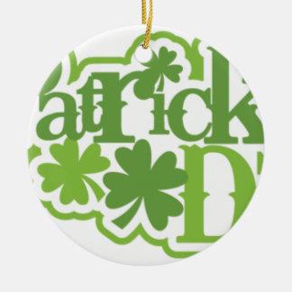 Dia de São Patrício, design irlandês de Patrick de Ornamento De Cerâmica Redondo