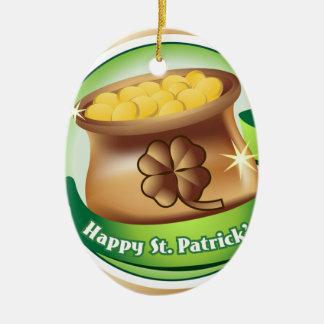 Dia de São Patrício feliz, feriado irlandês do Ornamento De Cerâmica Oval