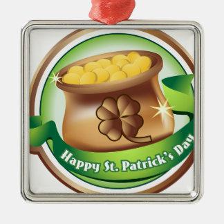 Dia de São Patrício feliz, feriado irlandês do Ornamento Quadrado Cor Prata