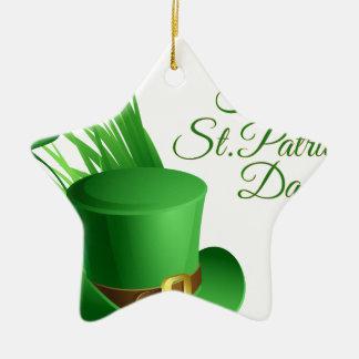 Dia de São Patrício feliz, santo irlandês do Ornamento De Cerâmica Estrela