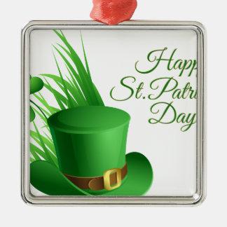 Dia de São Patrício feliz, santo irlandês do Ornamento Quadrado Cor Prata