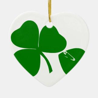 Dia de São Patrício - obtenha 3 afortunados + 1 Ornamento De Cerâmica Coração