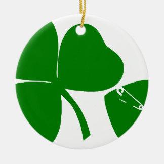 Dia de São Patrício - obtenha 3 afortunados + 1 Ornamento De Cerâmica Redondo