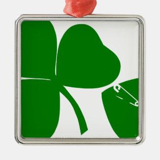 Dia de São Patrício - obtenha 3 afortunados + 1 Ornamento Quadrado Cor Prata
