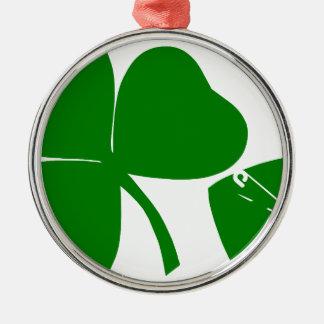 Dia de São Patrício - obtenha 3 afortunados + 1 Ornamento Redondo Cor Prata