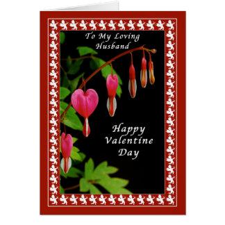 Dia de são valentim feliz a meu marido, corações cartão comemorativo