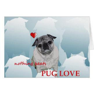 Dia de são valentim feliz do Pug e do mim xo Cartão Comemorativo