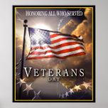 Dia de veteranos - honrando tudo que serviu pôsteres