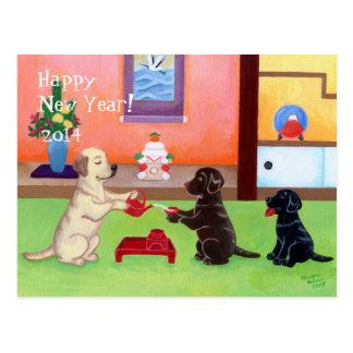 Dia do ano novo japonês Labradors Cartoes Postais
