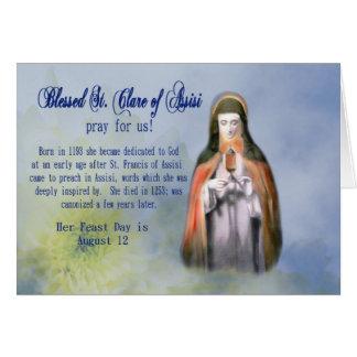 Dia do cartão do dia de banquete do St. Clare ou o