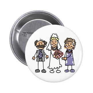 Dia do casamento dos pais das noivas antes da ceri bóton redondo 5.08cm