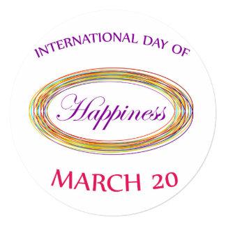 Dia do dia comemorativo da felicidade convite quadrado 13.35 x 13.35cm