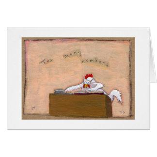 Dia do imposto - a galinha do contador numera a ar cartões