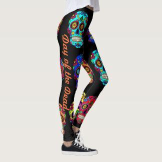 Dia do leggings com caveira do açúcar das calças