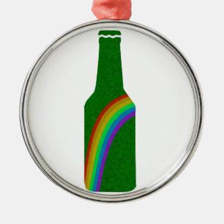 Dia do St. Patricks - garrafa Ornamento Redondo Cor Prata