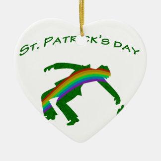 Dia do St. Patricks Ornamento De Cerâmica Coração