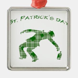 Dia do St. Patricks Ornamento Quadrado Cor Prata