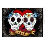 Dia dos crânios do amor do cartão inoperante