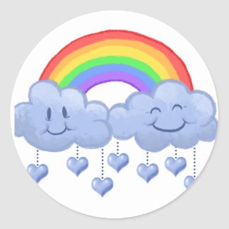Dia dos namorados do amor da nuvem adesivo redondo