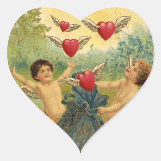 Dia dos namorados do vintage, corações dos anjos adesivo coração