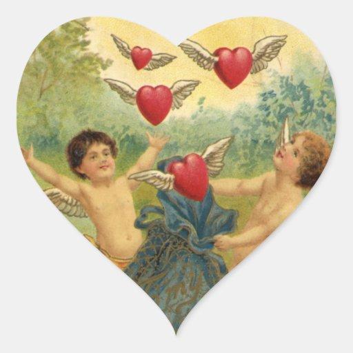 Dia dos namorados do vintage, corações dos anjos adesivo de coração