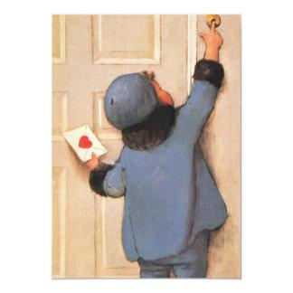 Dia dos namorados do vintage, criança com carta de convite 12.7 x 17.78cm