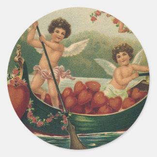 Dia dos namorados do vintage, Cupido do Victorian Adesivos Redondos