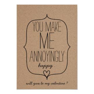 Dia dos namorados engraçado do coração bonito do convite 12.7 x 17.78cm