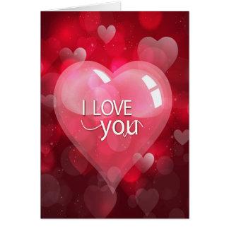 """Dia dos namorados """"eu te amo"""" rosa/vermelho cartão comemorativo"""