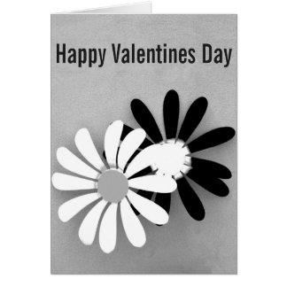 """""""Dia dos namorados feliz"""" floral em preto e branco Cartão Comemorativo"""