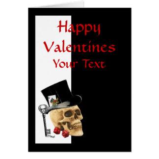 Dia dos namorados gótico do jogador do crânio do cartão comemorativo