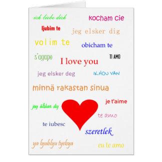 Dia dos namorados multilingue do amor do cartão