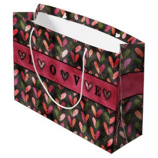 Dia dos namorados - padrões do coração do sacola para presentes grande
