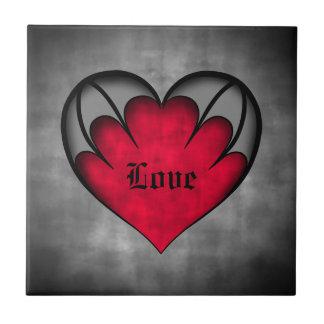 Dia dos namorados vermelho gótico do coração azulejo de cerâmica