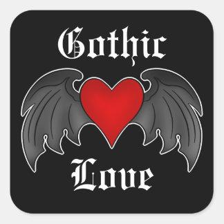 Dia dos namorados voado gótico do coração adesivo quadrado