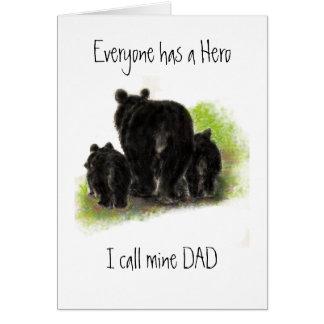 Dia dos pais bonito, pai meu herói, família do urs cartão comemorativo