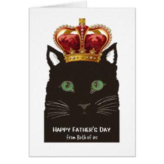 Dia dos pais de ambos nós gato preto com coroa cartão comemorativo