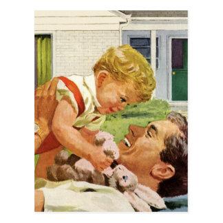 Dia dos pais do vintage, pai feliz e menino do cartão postal