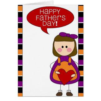 dia dos pais feliz (menina) cartão comemorativo