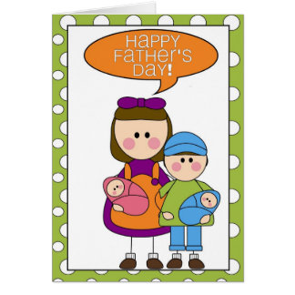 dia dos pais feliz (menino/menina/gêmeos) cartão comemorativo